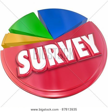 Survey word in red 3d letters on a pie chart to illustrate results, data and answers from market research, intelligence or insights