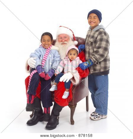 santa sitting with children white background; children on lap poster