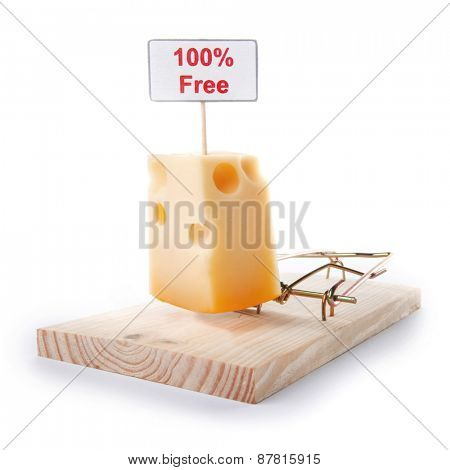 Mousetrap with free cheese sign isolated on white, entrapment concept