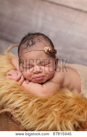 Newborn Baby Girl With Puckered Lips