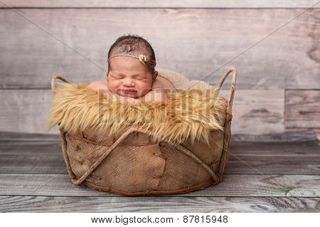 Smiling Baby Girl Sleeping In A Basket