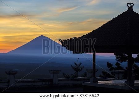 Volcano Agung As Background.