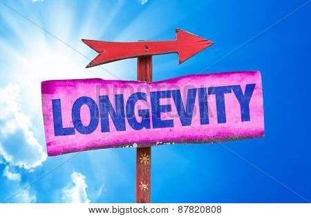 Longevity sign with sky background