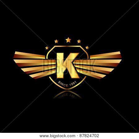 Letter K Winged Crests Logo . Alphabet Logotype Design Concept