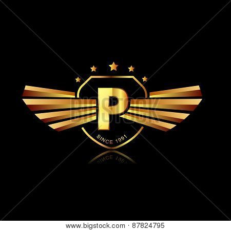 letter p winged crests logo alphabet logotype design concept