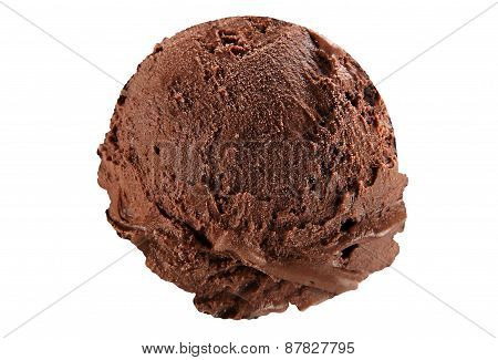 Scoop of dark chocolate ice cream on white background