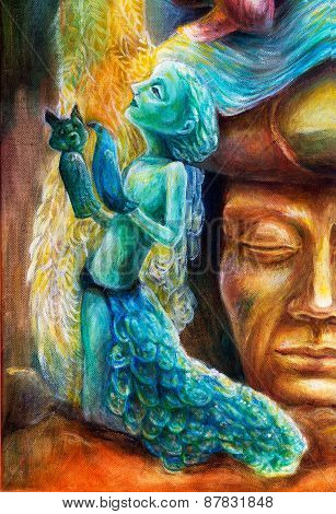 A woman story teller with puppets and protective spirits fantasy imagination detailed colorful painting poster