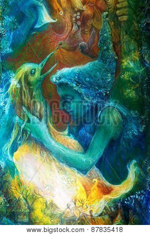 Fairy Child And A Phoenix Bird, Fantasy Imagination Colorful Painting