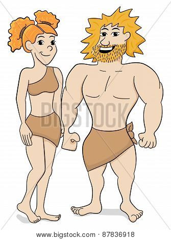 Prehistoric Cave Dweller Couple
