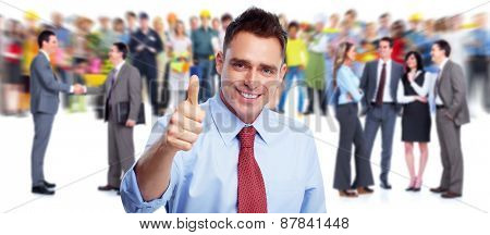 Happy business people group. Success and teamwork background.