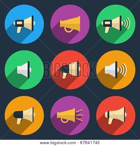 Megaphone icons set