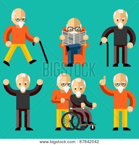 Older people. Elderly activity, elderly care, comfort and communication in old age. Happy man read newspaper in armchair. Vector illustration poster