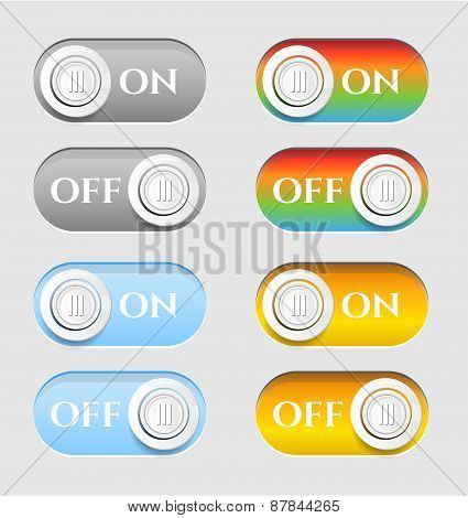 Set, collection, group of eight, modern, colorful, isolated icons, buttons - text On, Off