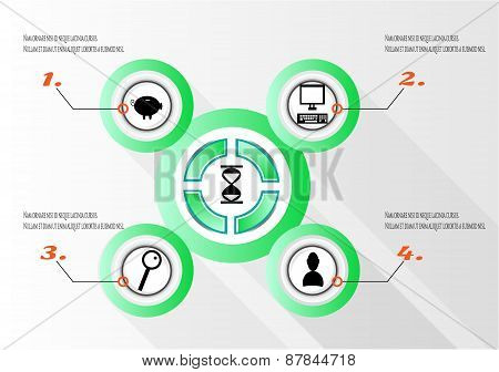 Modern, abstract, round, green infographics with numbers, black icons -computer, magnifier, man, pig
