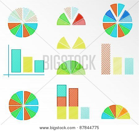 Set, collection of isolated, colorful - blue, yellow, red, orange, green - pie charts, diagrams, gra