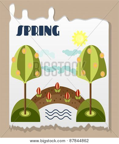 Vintage landscape with trees, flowers with green leaves, bridge, river, sun, clouds, text Spring, re