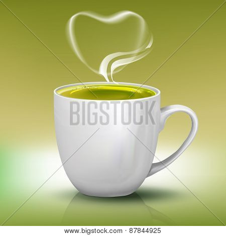 Realistic Cup Of Green Tea With Heart Shape Steam, Vector Object Illustration