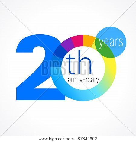 20 years old round logo. Anniversary year of 20 th vector chart template medal. Birthday greetings circle celebrates. Celebrating numbers. Colorful digits. Figures of ages, cut sections. Letter O blue.