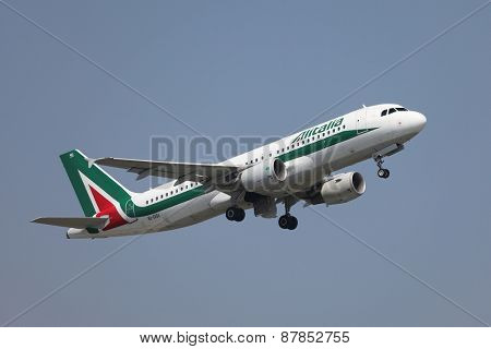 BUDAPEST, HUNGARY - JULY 4: Airliner of Alitalia is departing from Budapest (LHBP), July 4th 2014. Alitalia is the national airline of Italy flying a fleet of 155 aircrafts (as of December 2011)