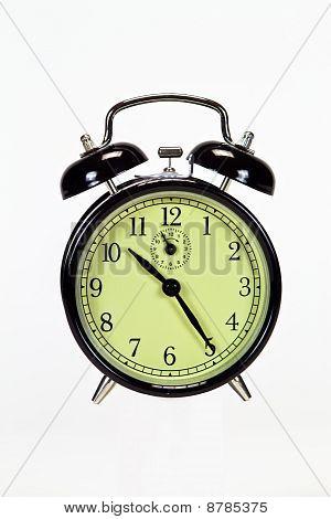 Black Alarm Clock Isolated Over White