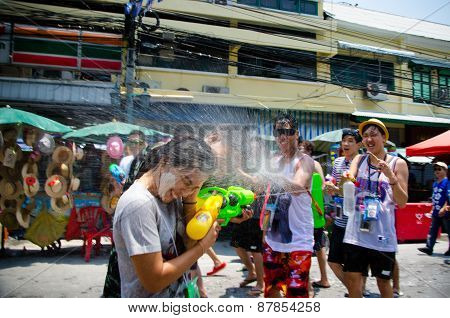 Getting Sprayed At Songkran