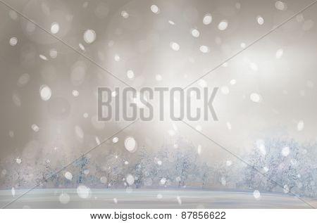 Vector winter snowfall landscape.
