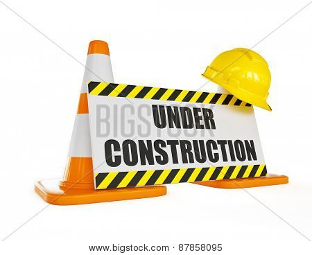 Under construction concept background - orange highway traffic construction cones with white stripes with announcement plate isolated on white poster