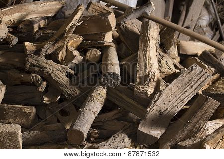 firewood / Dry firewood in a pile for furnace kindling poster
