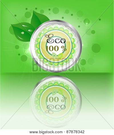 One, modern, green, metal, round label, button, sign with text Eco, leaves, lights, green background
