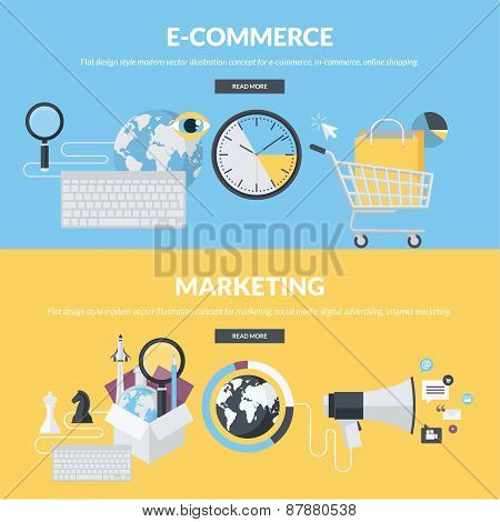 Set of flat design style concepts for e-commerce and marketing