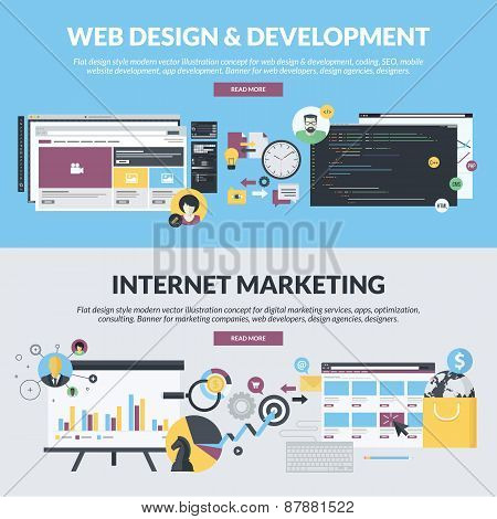 Set of flat design style concepts for web design and development, and internet marketing services