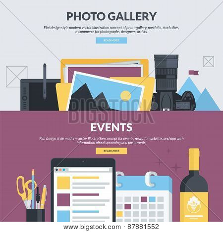 Set of flat design style banners for photo gallery and events