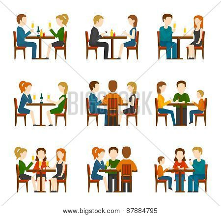 People In Restaurant Set