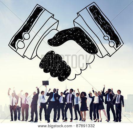 Handshake Agreement Partnership Deal Trust Welcome Concept poster