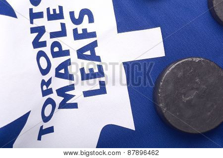 Kharkov Ukraine January 22: Toronto Maple Leafs Jersey And Old Hockey Puck