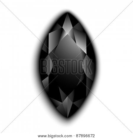 Black marquise cut gemstone  - raster version