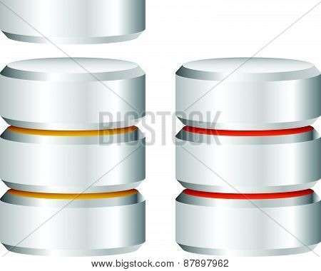 Metal Cylinder. Webhosting, Server, Mainframe Computer Concepts. Archive, Database, Hard Disk Drive,