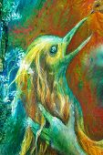 Detail of golden phoenix bird head fantasy imagination detailed colorful painting poster