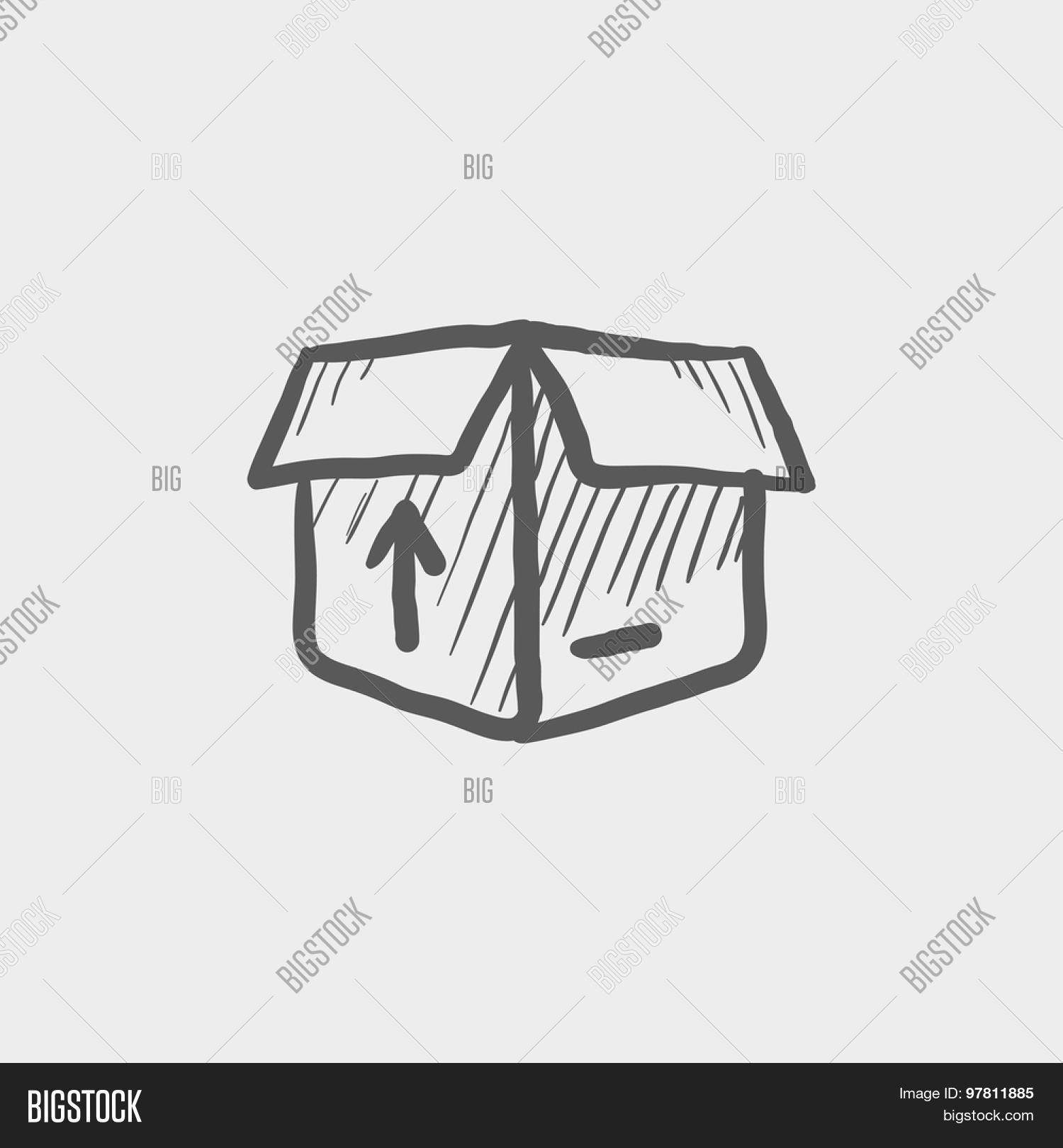 Open box arrow loading incoming vector photo bigstock open box with arrow loading incoming sketch icon for web and mobile hand drawn biocorpaavc Choice Image