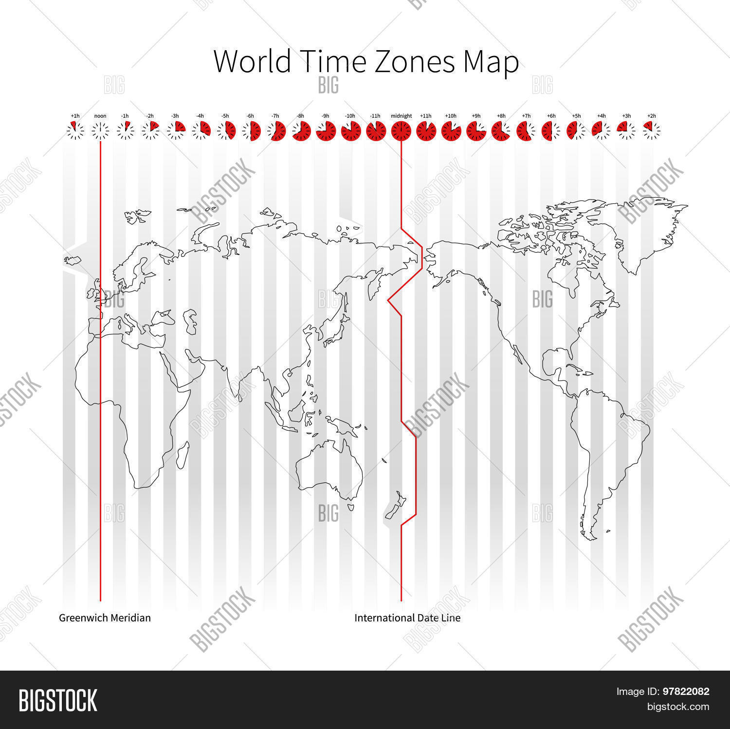 World Time Zones Map Vector & Photo (Free Trial) | Bigstock
