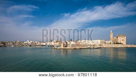 Trani scenic town at Adriatic sea Puglia Italy poster