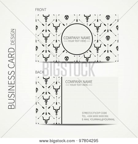 Geometric monochrome business card template with with ethnic arrows, skull for your design. Tribal n