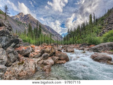 Mountain River In East Siberia