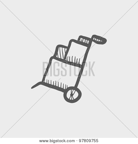 Trolley with boxes sketch icon for web and mobile. Hand drawn vector dark grey icon on light grey background.