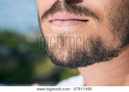 Men's short beard and lips close up