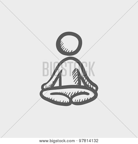 Yoga exercise sketch icon for web and mobile. Hand drawn vector dark grey icon on light grey background.