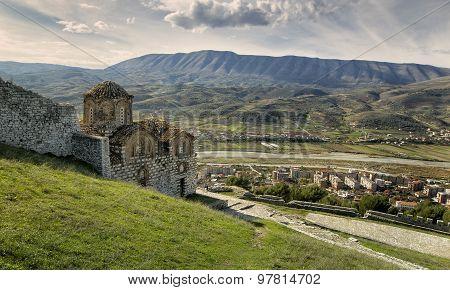 Ortodox church inside wall of UNSECO Berati city Albania