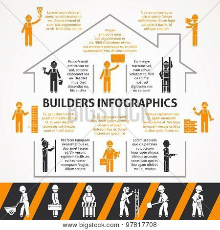 Builders Flat Color Infographic Set