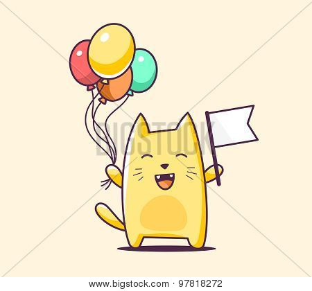Vector Illustration Of Color Bcharacter Cat With Flag And Balloons On Yellow Background.