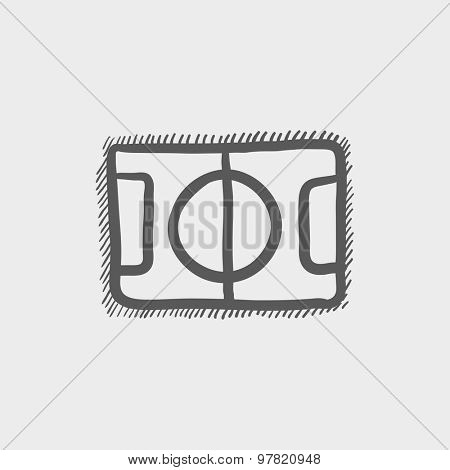 Basketball court sketch icon for web and mobile. Hand drawn vector dark grey icon on light grey background.